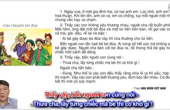 Câu chuyện bó đũa – Lớp 2 – Tuần 14 – Trang 112 – Tiếng Việt 2 tập 1
