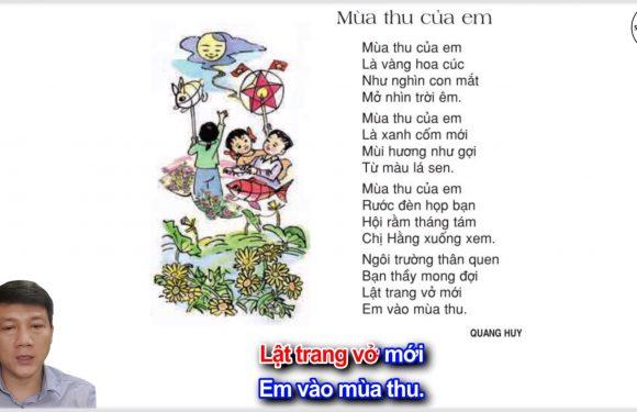 Mùa thu của em – Lớp 3 – Tuần 5 – Trang 42 – Tiếng Việt 3 tập 1