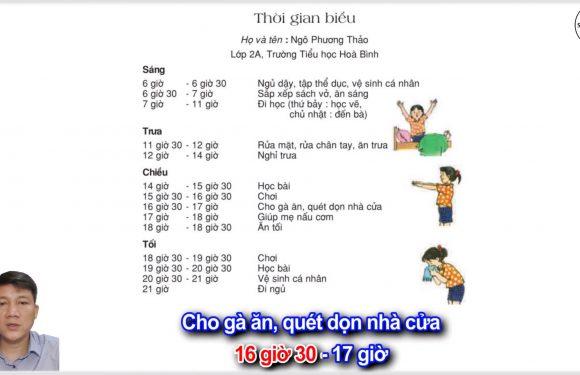 Thời gian biểu – Lớp 2 – Tuần 16 – Trang 132 – Tiếng Việt 2 tập 1