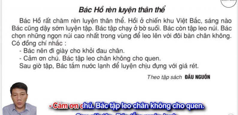 Bác Hồ rèn luyện thân thể – Lớp 2 – Tuần 35 – Trang 144 – Tiếng Việt 2 tập 2 Ôn thi học kỳ 2